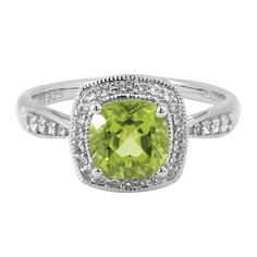 Cushion Cut Peridot & Lab-Created White Sapphire Ring in Sterling Silver - Sterling Silver Rings - Rings - Jewelry - Categories - Helzberg D. Peridot Jewelry, Geode Jewelry, Birthstone Jewelry, Diamond Jewelry, Jewelry Rings, Beautiful Necklaces, Diamond Engagement Rings, Sterling Silver Rings, Wedding Rings