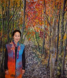"""Noriko Endo - Autumn Enchantment - Dimensions -  67"""" x 89"""" (168cm x 222cm) - Year completed - 2008  - Confetti Naturescape - Fabric and transparent tulle - Exhibition - ANA InterContinental Tokyo May 11 - August 7, 2016; 3rd floor"""