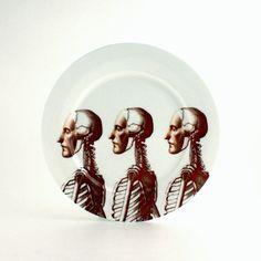 Big Plate Bone China Anatomical Skeleton by MoreThanPorcelain