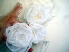 Trio Wedding Accessories Organza Fabric Roses by flowersofparadise, $15.00