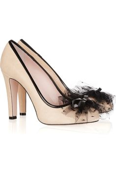 RED VALENTINO Tulle-embellished leather pumps Original price $450 NOW  $180 60% OFF theoutnet.com