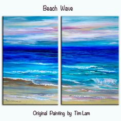 Summer Sale Original painting abstract sea art Beach Wave large landscape painting on gallery wrap canvas Ready to hang by tim Lam 48x36