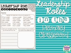 The Primary Pack: Leadership Roles In The Primary Classroom