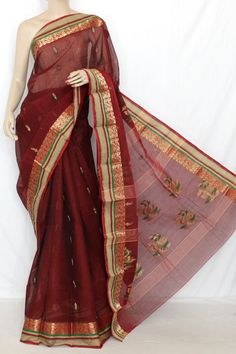 Maroon Exclusive Handwoven Bengal Tant Cotton Saree (Without Blouse) 13127