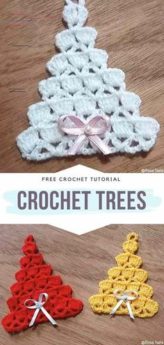 How to Crochet Christmas Trees Crochet Trees Free Tutorial These little colorful trees are designed in such a pretty way. They are absolutely charming. And these pink ribbon bows with tiny pearls in the center? Crochet Tree, Crochet Christmas Ornaments, Holiday Crochet, Crochet Snowflakes, Crochet Gifts, Crochet Flowers, Free Crochet, Christmas Decorations, Crochet Bows Free Pattern