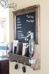 Great Organization DIY Chalkboard with Key Hooks - and reclaimed wood! LOVE recycling & rustic chic!