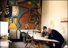 French architect Le Corbusier in his Parisian studio at 35 rue de Sèvres, 1959.   Photo by Rene Burri for Magnum Photos