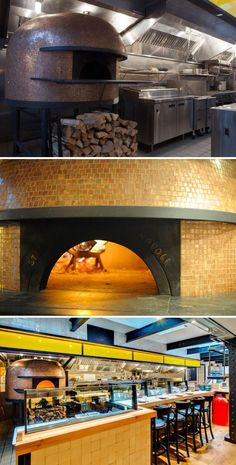 Pizza is a focus here; a copper-tiled Stefano Ferraro pizza oven will bake up selections ranging from a classic Margherita … Wood Oven, Wood Fired Oven, Wood Fired Pizza, Pizza Menu Design, Pizzeria Design, Restaurant Interior Design, Cafe Interior, Interior Design Kitchen, Indoor Pizza Oven