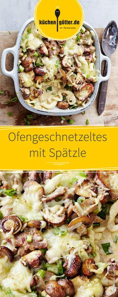 Innerhalb von 20 Minuten fertig und damit perfekt für den schnellen Feierabend: Ofengeschnetzeltes mit Spätzle! Spatzle, Different Recipes, Carne, Potato Salad, Low Carb, Food Porn, Food And Drink, Pasta, Cooking Recipes
