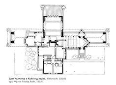 Дом Уиллитса в Хайлэнд-парке, архитектор Фрэнк Ллойд Райт, план