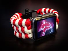 Apple Watch Boston Redsox Paracord Band, 42mm & 38mm - Stainless Steel Adjustable Clasp, MilSpec cord, MLB, BoSox, The Sox