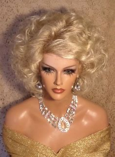 Drag Queen Wig Light Blonde to Lighter Tips in Mid Lenght Layers Blonde Bangs in Clothing, Shoes & Accessories, Women's Accessories, Wigs, Extensions & Supplies   eBay