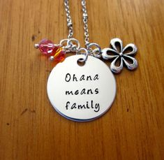 """Ohana Means Family necklace. Inspired by Disney's """"Lilo & Stitch"""". Silver colored, Swarovski crystals, for women or girls"""