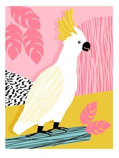 FeelFree - memphis throwback retro bird tropical nature animal parrot cockatoo 1980s 80s pop art Art Print by Wacka | Society6