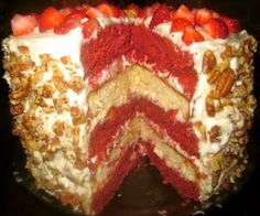 I think I just gained 10 pounds looking at this! Red Velvet Strawberry Shortcake Layer Cake with Cream Cheese Frosting