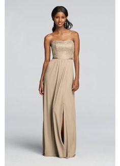 David's Bridal Metallic Lace and Mesh Long Strapless Dress F18095M $159