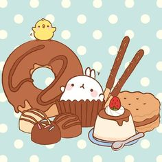 Molang and sweet treats desserts Chibi Kawaii, Kawaii Art, Kawaii Anime, Pikachu Pikachu, Cute Backgrounds, Cute Wallpapers, Kawaii Drawings, Cute Drawings, Mode Kawaii