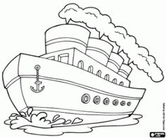 Steam boat coloring page