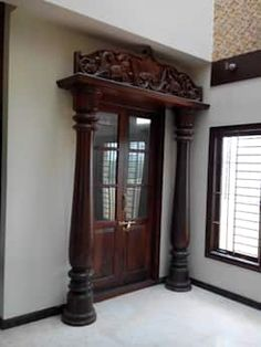 Here are some beautiful pooja room door designs for you. Choose any pooja room door designs from our collection and get it installed in your pooja room. Indian Interior Design, Pooja Room Door Design, Indian Interiors, Pooja Rooms, Indian Homes, Indian Home Decor, Room Doors, Home Remodeling, Modern
