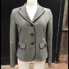 🎉HP🎉Gorgeous MaxMara Weekend timeless classic! Wow. This is just an absolutely stunning blazer. The only flaw is the red stripe of lining on inside has faded.  Please see photo.   Otherwise this jacket is in brand-new condition and has never been worn.   This jacket is a size 12, but runs small. The jacket is made of 73% virgin wool, 25% silk, and 2% elastan.   Sweater and skirt are being sold under separate listings. Purchase jacket and get sweater for 50% off) MaxMara Jackets & Coats…