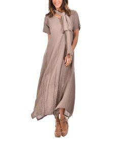Look what I found on #zulily! 100% LIN BLANC Taupe Linen Maxi Dress & Scarf by 100% LIN BLANC #zulilyfinds