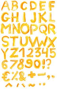 Brush paint font alphabet