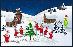kissing elves   Clip Art of a Christmas Elf Village