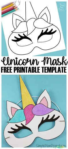 Unicorn Face Masks with FREE Printable Templates - Simple Mom Project  <br> Check out this post for FREE printable Unicorn Face Mask templates! Comes with two cut-out templates AND coloring sheets for kids of all ages! Printable Masks, Unicorn Printables, Free Printables, Printable Templates, Party Printables, Toddler Crafts, Diy Crafts For Kids, Projects For Kids, Art Projects