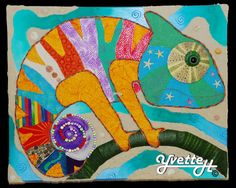 Chameleon art - talk about colors related to emotions. Arte Elemental, Third Grade Art, Animal Art Projects, Art Curriculum, Spring Art, Reptiles, Lizards, Art Lesson Plans, Art Classroom