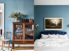 On my mind (Elsa Billgren) Blue Rooms, Blue Walls, Gray Interior, Interior Design, Blue Wall Colors, Eclectic Furniture, Cool Rooms, Bedroom Decor, Living Room