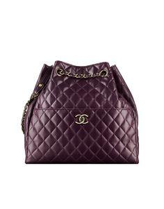 Drawstring bag, lambskin-dark purple - CHANEL