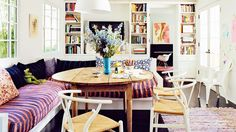 Amanda Peet's colorful kitchen takes center stage in her Hollywood adobe via @Domaine
