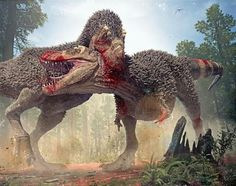 T-Rex Battle. 'Death Before Dishonor' Artwork by Herschel-Hoffmeyer
