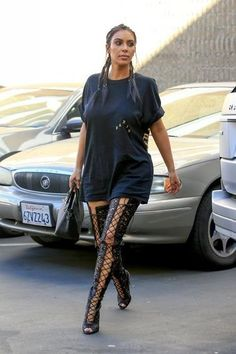 Kim Kardashian wearing Hermes Black Birkin Bag, Tom Ford Nappa Leather Lace-Up Over-the-Knee Boots and Kanye West the Life of Pablo Paris T-Shirt