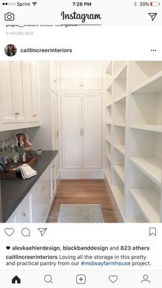 Butler pantry behind kitchen for refrigerator, drinks station, food, appliances, s … – Kitchen Pantry Cabinets Designs Kitchen Pantry Cupboard, Small Kitchen Pantry, Free Standing Kitchen Pantry, Pantry Laundry Room, Kitchen Pantry Design, Pantry Closet, Pantry Storage, Kitchen Cabinets, Butler Pantry