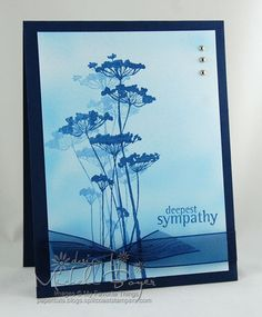 """By MIchele Boyer. She airbrushed the background; I'd sponge it. Stamp is from """"Insightful Meadows"""" by Unity. Stamp using navy ink, then stamp again without re-inking (called second generation stamping). Add bow  sentiment. Attach to navy card base. Add silver pearls."""