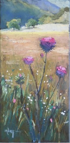 Thistle Painting Daily Painting Small Oil Painting Thistle and Meadow by Carol Schiff 6x12x.75 Oil, painting by artist Carol Schiff