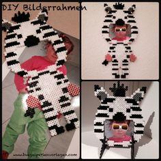 DIY Zebra Bilderrahmen aus Bügelperlen