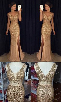 Sexy Crystal Beaded Prom Dress Long With Slit, Mermaid Prom Dresses, Evening Gown, Formal Wear