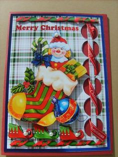 Card Gallery - Woven Ribbon Card - Toys in Stocking  Card made by Angela Styles