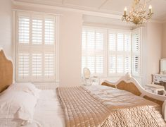 We are the leading supplier for solid wooden shutters to Essex & London, UK. Visit our local showroom for our full range of solid hardwood shutters OR call us now on 0203 418 8877 Wooden Window Shutters, Bedroom Shutters, Indoor Shutters, White Shutters, Wooden Windows, Classic Shutters, Luxurious Bedrooms, Window Coverings, Blinds