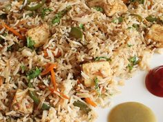 Paneer Fried Rice - Indian style Chinese Cuisine Special Fried Rice with Paneer - Perfect to Serve with Manchurian and Soup in Dinner