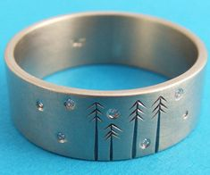 diamonds in the pines etched wedding band
