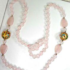 Necklace tested gemstone pink rose quartz 30 in 8mm knotted big cloisonne beads  #Unbranded #StrandString