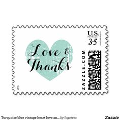 Turquoise blue vintage heart love and thanks stamp