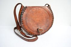 Vintage Tooled Leather Crossbody by thevintagejesus on Etsy