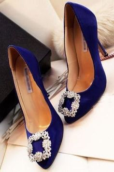 Morpheus Boutique  Royal Blue Satin Crystal Celebrity Heels Shoes Design works No.1067 |Blue Heels|