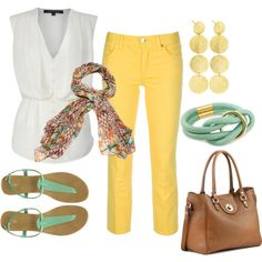 Summer outfit- stylish dinner outfit. Love the colour combo. Yellow pants! gotta be game!