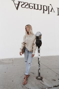 streetstyleplatform:  Knit Beige Sweater