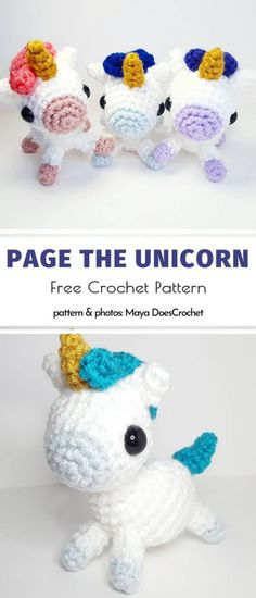 Squishable rainbow-coloured Amigurumi Unicorns are the only thing you need when you have a gloomy day. Cute Crochet, Crochet Toys, Crochet Lovey, Crochet Things, Crochet Beanie, Crochet Blanket Patterns, Amigurumi Patterns, Doll Patterns, Yarn Animals